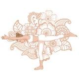 Women silhouette. Warrior 3 yoga pose. Virabhadrasana 3 Royalty Free Stock Photography