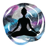 Women silhouette. Yoga lotus pose. Padmasana. Stock Image