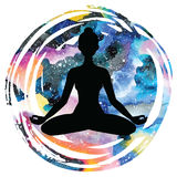 Women silhouette. Yoga lotus pose. Padmasana. Stock Photos
