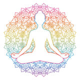 Women silhouette. Yoga lotus pose. Padmasana. Stock Photo