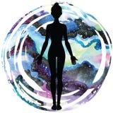 Women silhouette. Yoga mountain pose. Tadasana. Royalty Free Stock Photos