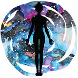 Women silhouette. Yoga mountain pose. Tadasana. Stock Images