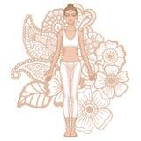 Women silhouette. Yoga mountain pose. Tadasana. Royalty Free Stock Images