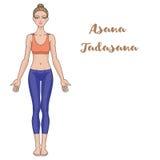 Women silhouette. Yoga mountain pose. Tadasana. Royalty Free Stock Image