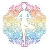 Women silhouette. Yoga tree pose. Vrikshasana. Stock Images