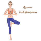 Women silhouette. Yoga tree pose. Vrikshasana. Royalty Free Stock Images