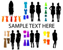 Women silhouettes. Fashion elements for women silhouettes Stock Illustration