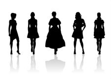 Women silhouettes. Five black fashionable female silhouettes on a white background with shadows Stock Photography