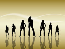 Women Silhouettes. Silhouettes of seven sexy women reflecting on the floor Stock Images