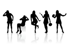 Women silhouettes 7. Five black fashionable female silhouettes on a white background with shadows Royalty Free Stock Photos