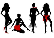 Women silhouettes. Four woman silhouettes, vector illustration vector illustration