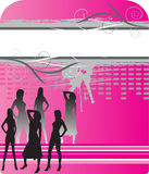 Women silhouettes on abstract background. With space for text Stock Photography