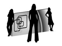 Women silhouettes and business card. Logo Stock Image