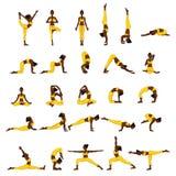 Women silhouettes. Collection of yoga poses. Asana set. Stock Photography
