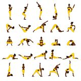Women silhouettes. Collection of yoga poses. Asana set. Stock Photos