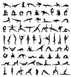 Women silhouettes. Collection of yoga poses. Asana set. royalty free illustration
