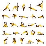 Women silhouettes. Collection of yoga poses. Asana set. Royalty Free Stock Photo