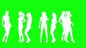 Women silhouettes dancing loop stock video footage