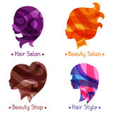Women silhouettes emblems of beauty or Royalty Free Stock Photo
