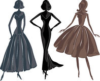 women silhouettes in evening dresses Royalty Free Stock Photo