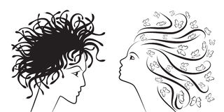Women silhouettes. Female silhouettes good woman evil woman Royalty Free Stock Photography