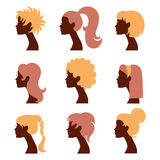 Women silhouettes icons set. Beautiful women silhouettes icons set Vector Illustration