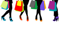 Women silhouettes legs with high heels and shopping bags and pla Royalty Free Stock Image