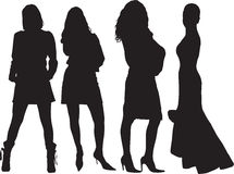 Women silhouettes. A lot of black silhouettes of beautiful women on white background Vector Illustration