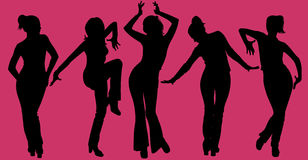 Women silhouettes on purple background. Five dancing woman silhouettes on purple background Stock Photo