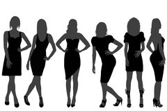 Women silhouettes with rainbow color dresses stock illustration