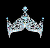 Women silver crown on a black background Stock Photos