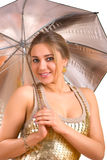Women with a silver umbrella Stock Image