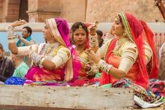 Women singers on a camel cart Stock Photos