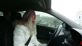 Women singing in the car 01 stock video