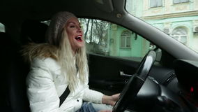 Women singing in the car 02 stock video footage