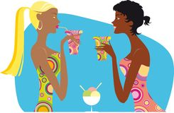 Women sipping drinks. Illustration of two women sipping colorful drinks from straws Royalty Free Stock Images