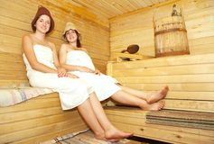 Women  sits  in  sauna Stock Photos