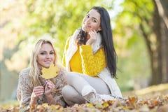 Women sitting in autumn park Stock Photo