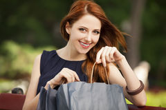 Women sitting on the bench. Style redhead woman sitting on the bench with shopping bags Stock Photography