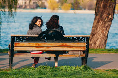 Women sitting on a bench Royalty Free Stock Photo
