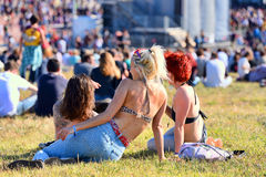 Women sitting in the grass at Heineken Primavera Sound 2014 Festival (PS14) Stock Image