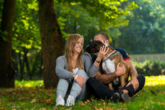 Women Sitting Outdoors With Her Pet Dog German Boxer Royalty Free Stock Photos