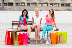 Women Sitting After Shopping Stock Photography