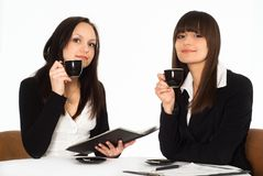 Women sitting at the table Royalty Free Stock Photos