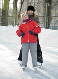 Women on skating rink Stock Photos