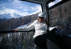 Women in a ski gondola . Royalty Free Stock Images