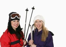 Women with skis Stock Photography