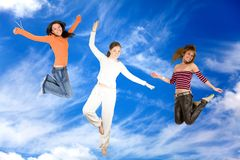 Women on the sky Royalty Free Stock Image