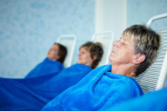 Women sleeping after sauna Royalty Free Stock Images
