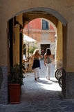 Women in the small streets of Monterosso Royalty Free Stock Images